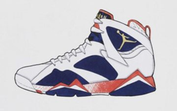 "近日,air jordan 7 ""olympic alternate""的设计手稿流出,由"
