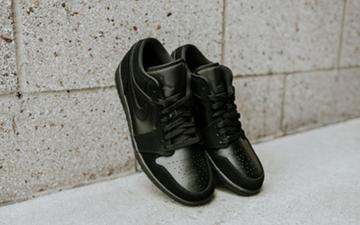 优质感纯黑光滑皮革Air Jordan 1 Low